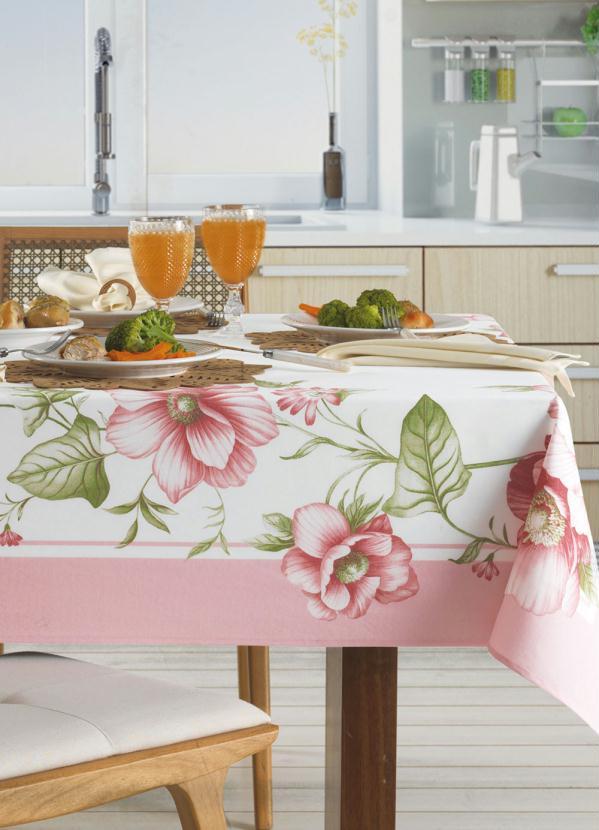 Toalha de Mesa Redonda Floral (Rosa) (1 Peça)