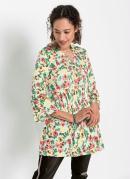Blusa Bata com Amarração no Decote Floral Verde