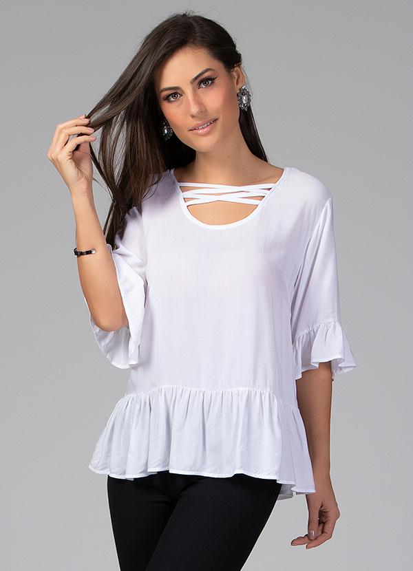 Blusa com Decote de Tiras (Off White)