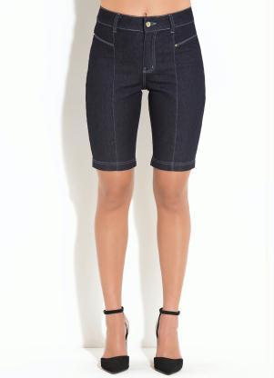 Bermuda Quintess (Jeans Escuro) com Recortes