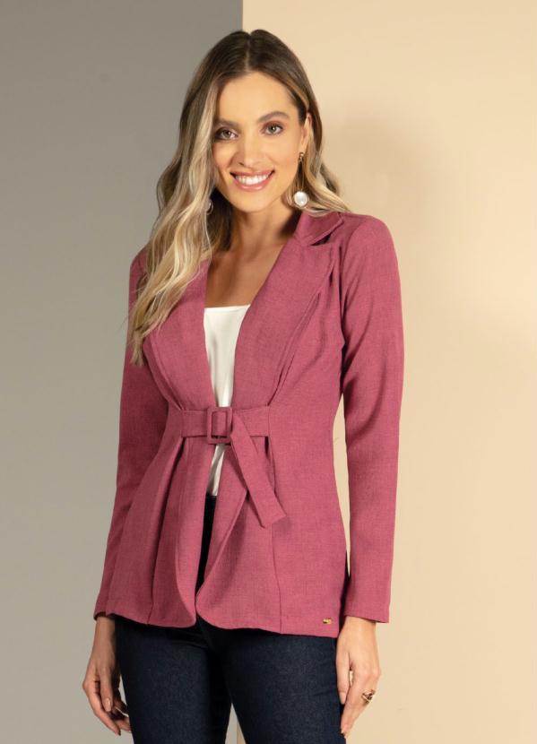 Blazer com Faixa e Fivela Forrada (Pink)
