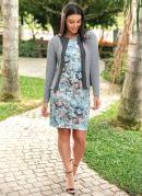 Blazer em Malha Jacquard Moda Evangélica Cinza
