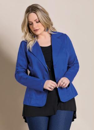 Blazer em Sarja (Azul) Plus Size