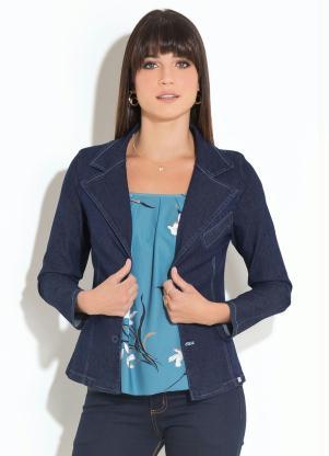 Blazer (Jeans Escuro) com Bolso Decorativo