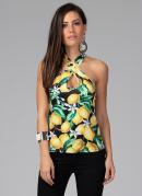 Blusa Ajustada com Decote Cruzado Floral Frutado