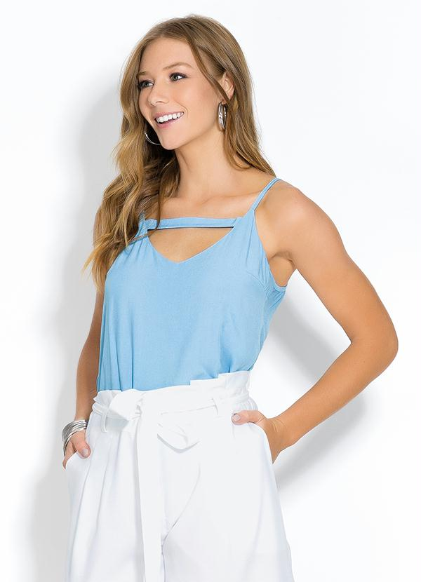 Blusa (Azul) de Alça com Tira no Decote
