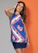Blusa Azul Floral com Franzido