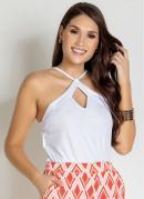 Blusa Branca de Alças com Gota Frontal