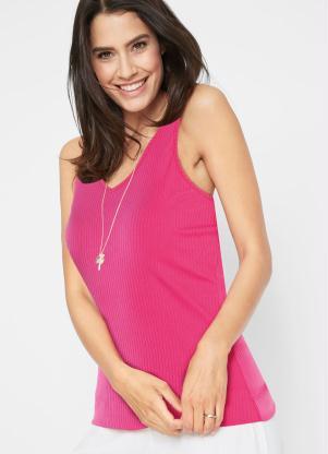 Blusa Canelada com Decote V (Pink)