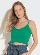 Blusa Cropped Quintess em Tricot Verde
