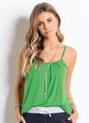 Blusa de Alça com Drapeados Verde Clara Quintess