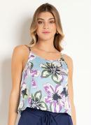 Blusa de Alças Floral Azul