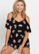 Blusa de Alcinha Ombro de Fora Floral Preto