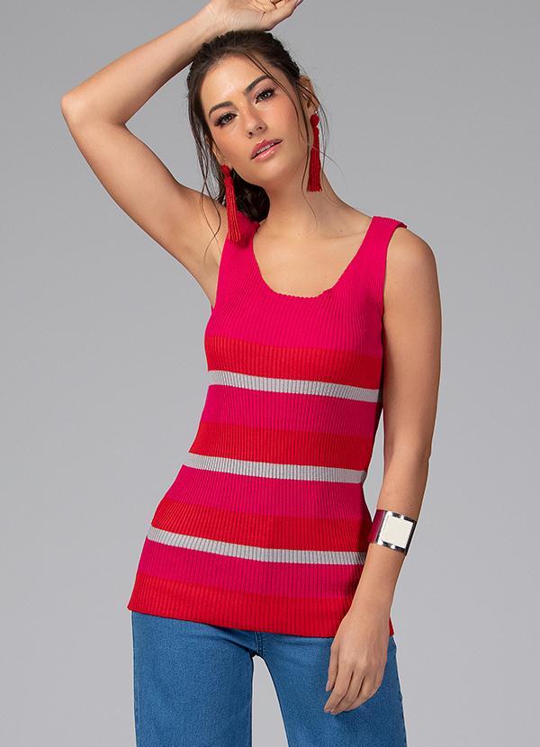 Blusa em Tricot Canelado (Listrada Pink)