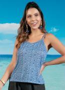 Blusa Floral Azul com Alças e Decote V