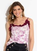 Blusa Floral Off White com Detalhes de Babados