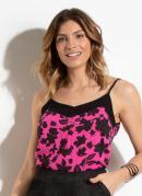 Blusa Floral Pink com Decote Costas Profundo