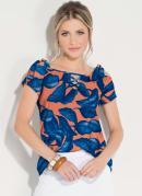 Blusa Folhagem Azul com Amarração