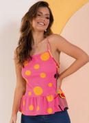 Blusa Folhagem Rosa com Babados na Barra