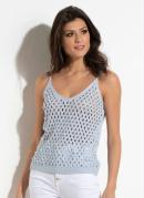 Blusa Quintess em Tricot Azul Claro com Pérolas