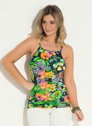 Blusa Quintess Floral com Decote Quadrado