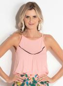 Blusa Rosa com Detalhe em Cor Contrastante