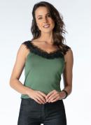 Blusa Verde com Aplicação de Renda
