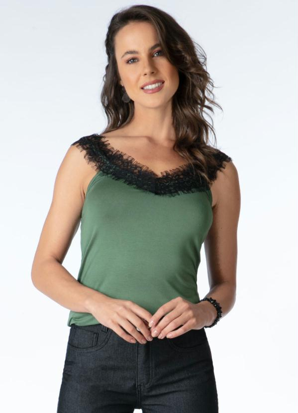 Blusa (Verde) com Aplicação de Renda