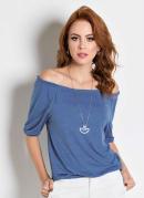 Blusa Azul Ciganinha com Mangas 3/4