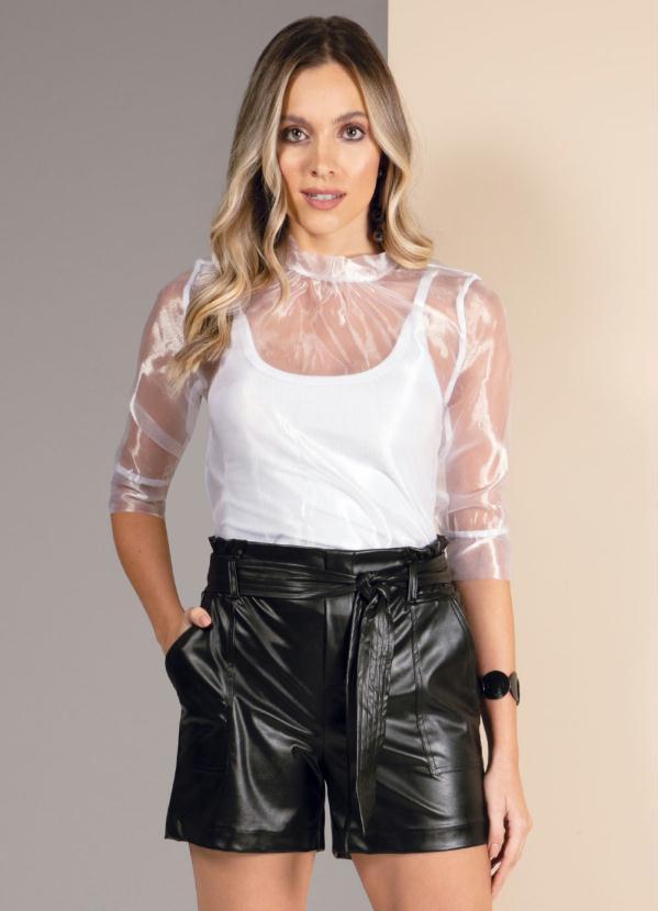 Blusa (Branca) com Transparência e Mangas Bufantes
