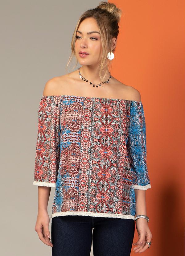 Blusa Ciganinha com Franja (Étnico Azul)