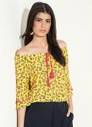 Blusa Ciganinha Floral Amarelo com Pompons
