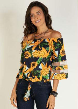 Blusa Ciganinha (Floral Amarelo) com Recortes