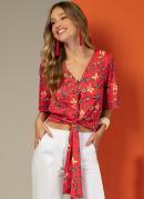 Blusa com Amarração na Barra Floral Vermelho
