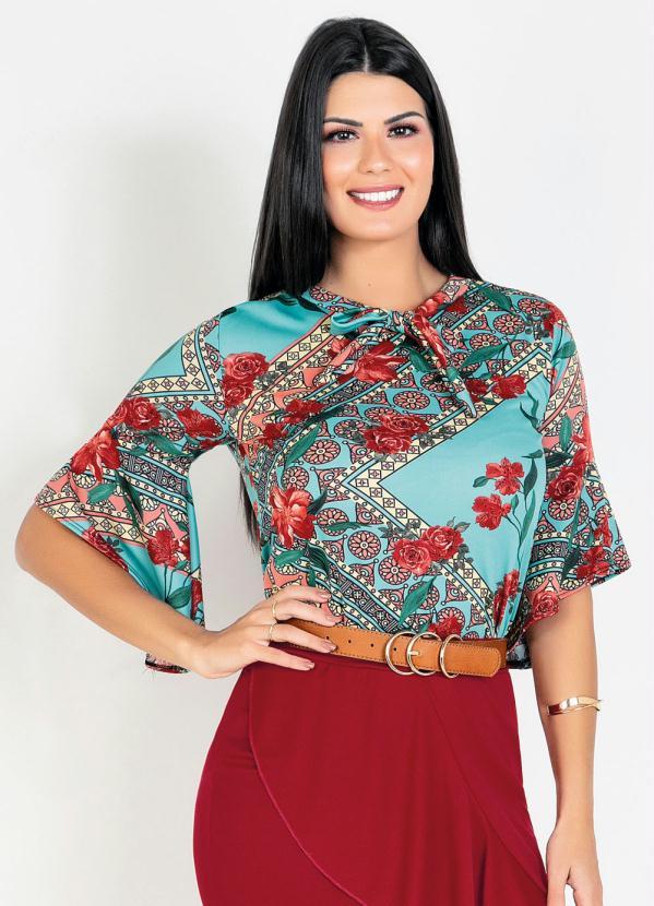 Blusa com Babado (Floral Vermelho) Moda Evangélica