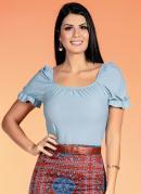 Blusa com Decote Quadrado Azul Moda Evangélica