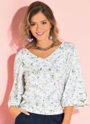 Blusa com Mangas Amplas Floral Branco