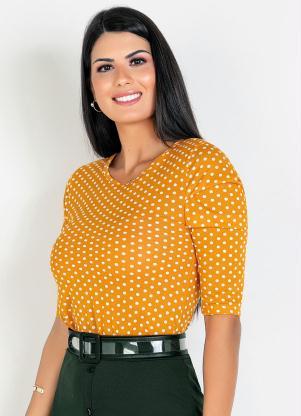 Blusa com Pregas (Poá Amarelo) Moda Evangélica