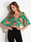 Blusa Cropped com Mangas Amplas Floral Quintess