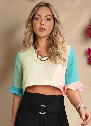 Blusa Cropped (Degradê Candy) com Babados