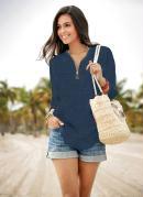Blusa Decote V com Zíper Azul Marinho