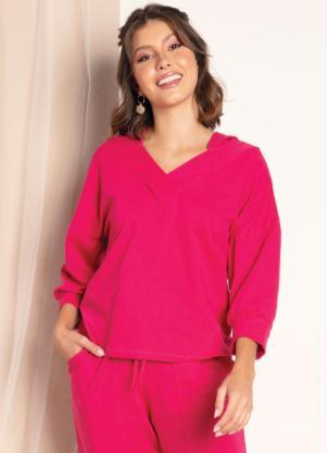 Blusa em Moletom (Pink) com Capuz