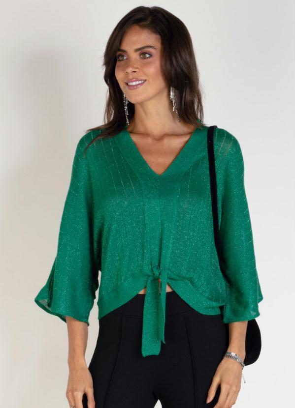 Blusa em Tricô (Verde) com Fios Metalizados