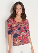 Blusa Estampada Quintess com Manga 3/4