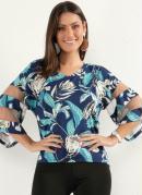 Blusa Floral Azul com Detalhes em Tule