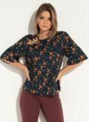 Blusa Floral com Argolas na Frente