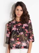 Blusa Floral Dark com Transparência Quintess