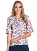 Blusa Floral Moda Evangélica com Gola Colegial