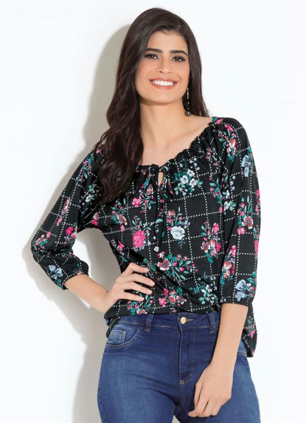 Blusa (Floral Preta) com Amarração Quintess