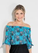 Blusa Floral Turquesa Ciganinha com Amarração
